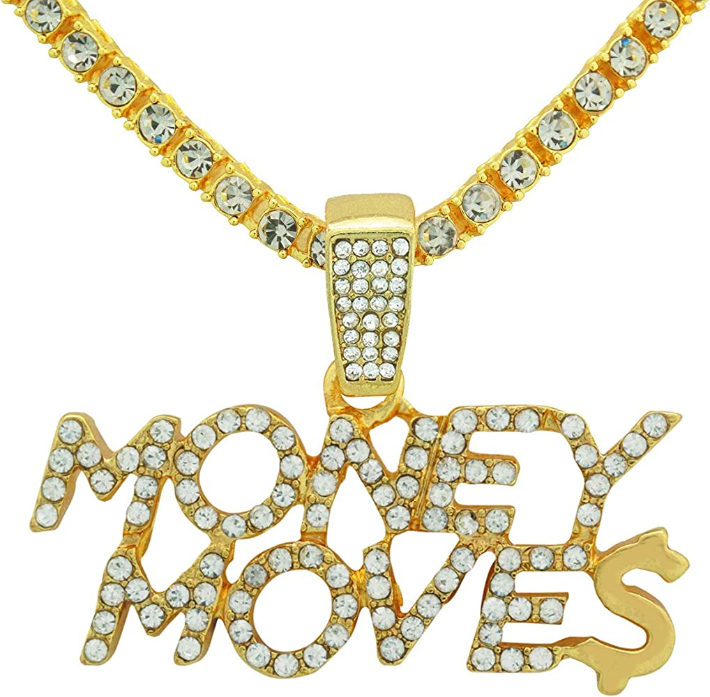 Yellow Gold-Tone Hip Hop Bling Simulated Crystal CursiveHustle Letter Pendant with 18 Tennis Chain and 24 Rope Chain