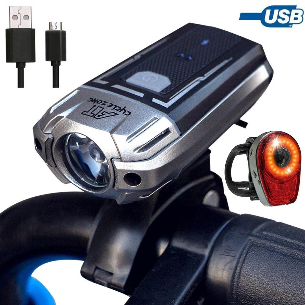 Bike Accessories,Dartphew 1Set - USB Rechargeable Bicycle Headlight (4 Adjustable Modes)+ Rear Light LED Safety Flashlight(6 modes),Automatic fully charged cut-off system,for Outdoor MTB Bike Cycling