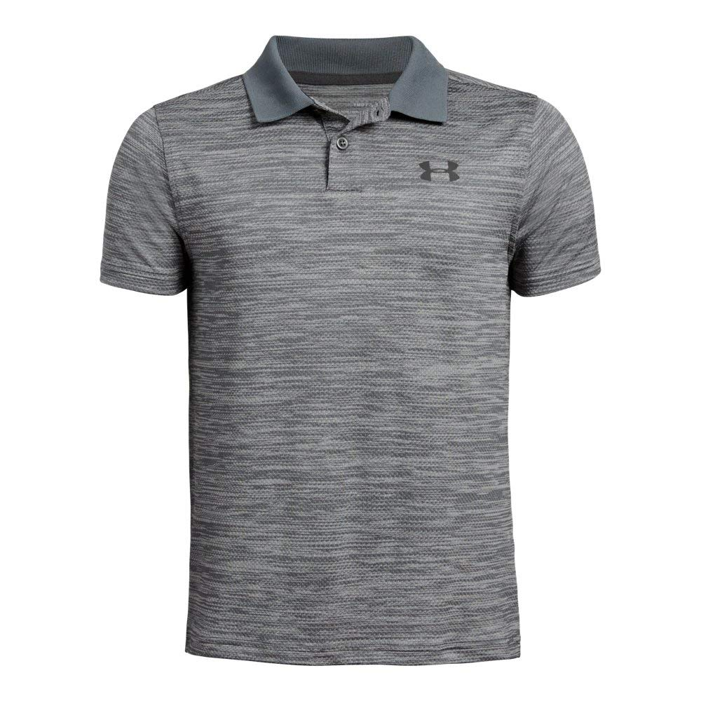 Under Armour boys Performance 2.0 Golf Polo, Pitch Gray Light Heather (012)/Jet Gray, Youth Medium by Under Armour