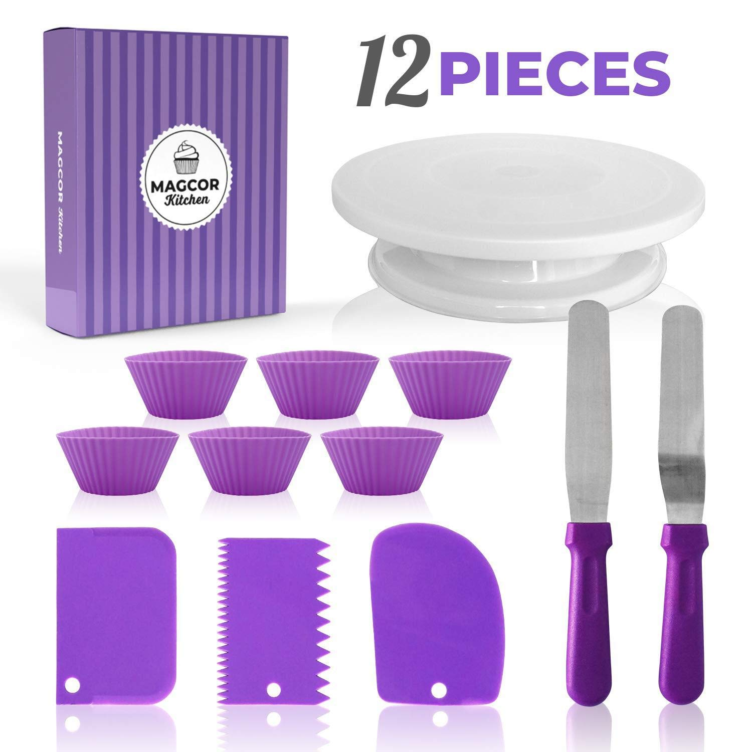 Whryspa Cake Decorating Kit Supplies with Revolving Cake Turntable,Silicon Spatula and Cake Server/Cutter Baking Cake Decorating Supplies,12pieces