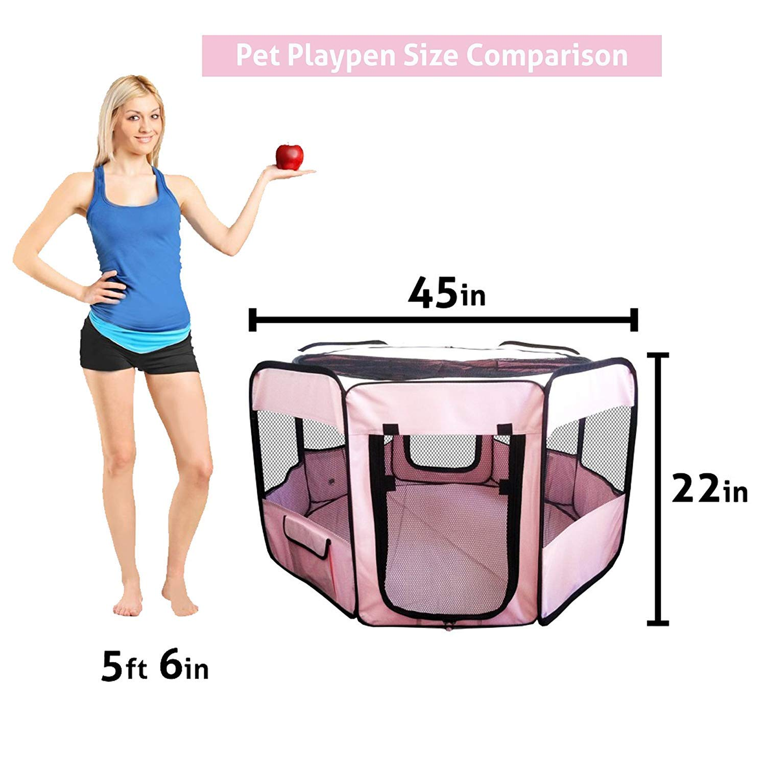 """ToysOpoly #1 Premium Pet Playpen – Large 45"""" Indoor/Outdoor Cage. Best Exercise Kennel for Your Dog, Cat, Rabbit, Puppy, Hamster or Guinea Pig. Portable Fabric Pen for Easy Travel (Light Pink) by ToysOpoly (Image #4)"""
