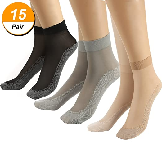 Hestya 15 Pairs Womens Anti-slip Nylon Socks Silky Ankle High Socks, 3 Colors