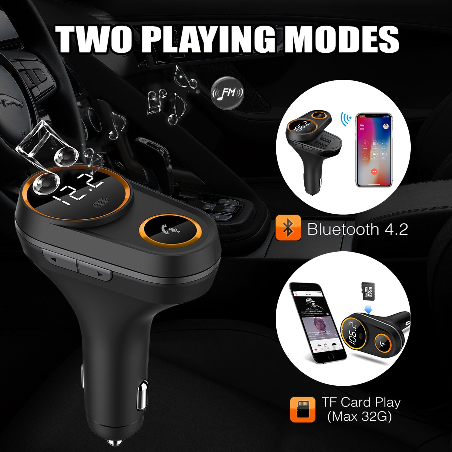 Bluetooth FM Transmitter for Car FM transmitter Bluetooth with Hand-Free Calling Voice navigation and LCD Display Music Player Support TF Card USB Flash Drive Dual 5V/2.4A USB Charge by PALMTONE (Image #2)