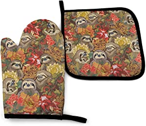 Surwoaly Oven Mitt & Pot Holders Set,Because Sloths Kitchen Heat Resistant and Washable for Cooking Baking Grilling and BBQ Decorative Baking Kitchen Gift