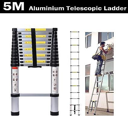 Vlio Telescopic Ladder 2.6m 8.5ft Aluminum Alloy Lightweight Portable Extendable Foldable Ladder DIY Multipurpose Loft Home Office Outdoor Indoor