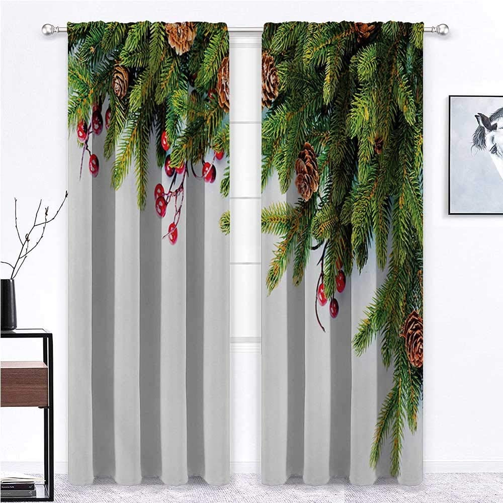 Nomorer Blackout Curtains for Bedroom Christmas for Living/Bedroom Room Patio Door Evergreen Fir Tree Branches with Cones Yule Celebration Holly Culture Design 55