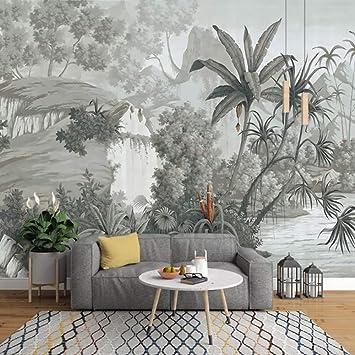 Yfxgstli Monochrome Tropical Feuilles De Banane Murale