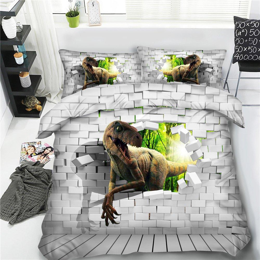 Royal Linen Kids teens gift Full Queen King size duvet cover bedding sets 3pcs bedclothes T-rex raptors quilt covers (JF562, Queen 3pcs)