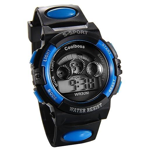 JewelryWe Relojes de Pulsera para Niños Niñas Infantil, Reloj Azul Digital Deportivo Militar Con Luz de Fondo, Multifunciones Relojes para Chicos Chicas: ...
