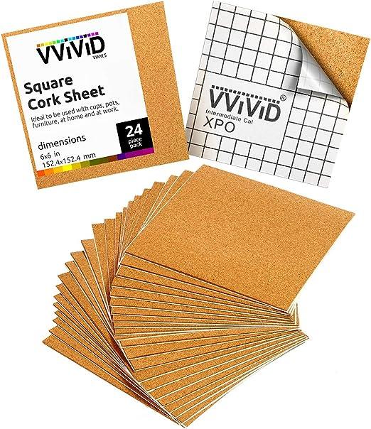 VViViD Self-Adhesive Cork 4 Inch Diameter 0.08 Inch Thick Round 30-Coaster Pack