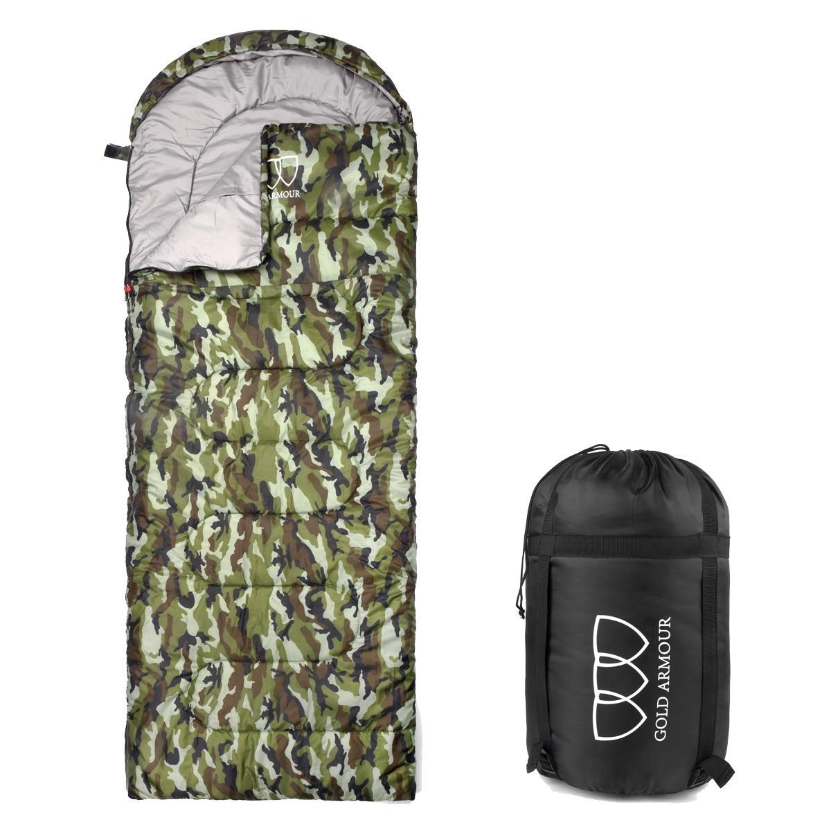 Gold Armour Sleeping Bag for Indoor and Outdoor Use - Great for Kids, Boys, Girls, Teens, Adults. Ultralight and Compact Bags for Sleepover, Backpacking, Camping (Camouflage - Right Zipper) by Gold Armour