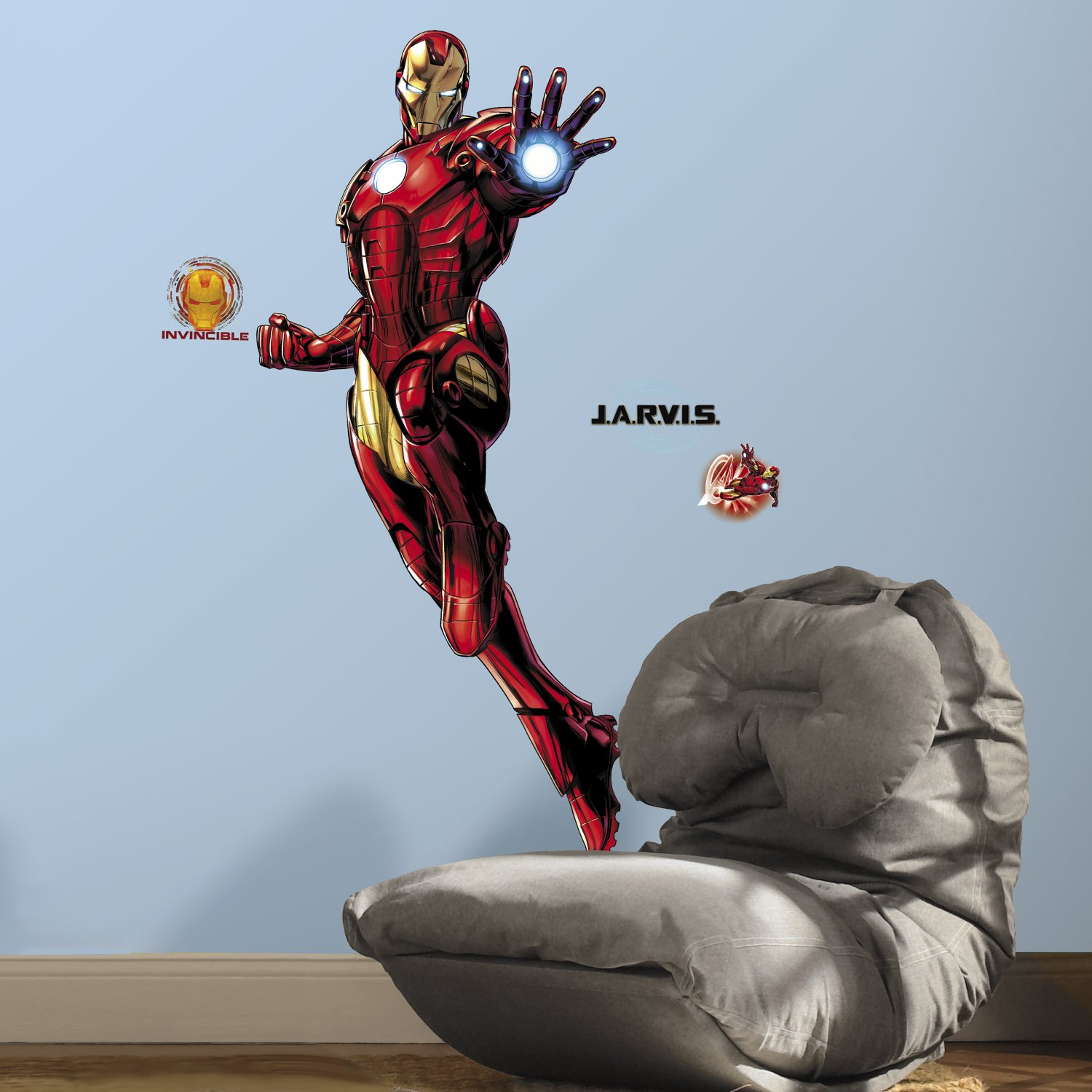 RoomMates RMK3172GM Iron Man Peel and Stick Giant Wall Decals with Glow by RoomMates (Image #1)