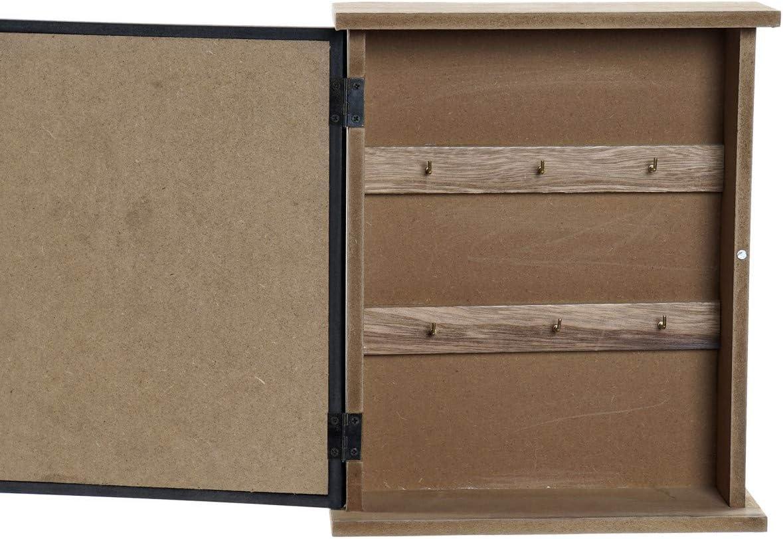 Hogar y Mas Guarda Llaves Pared Originales con 6 Ganchos Cuelga Llaves con Puerta de Madera y Cristal para Pared 22X7X26,5 cm