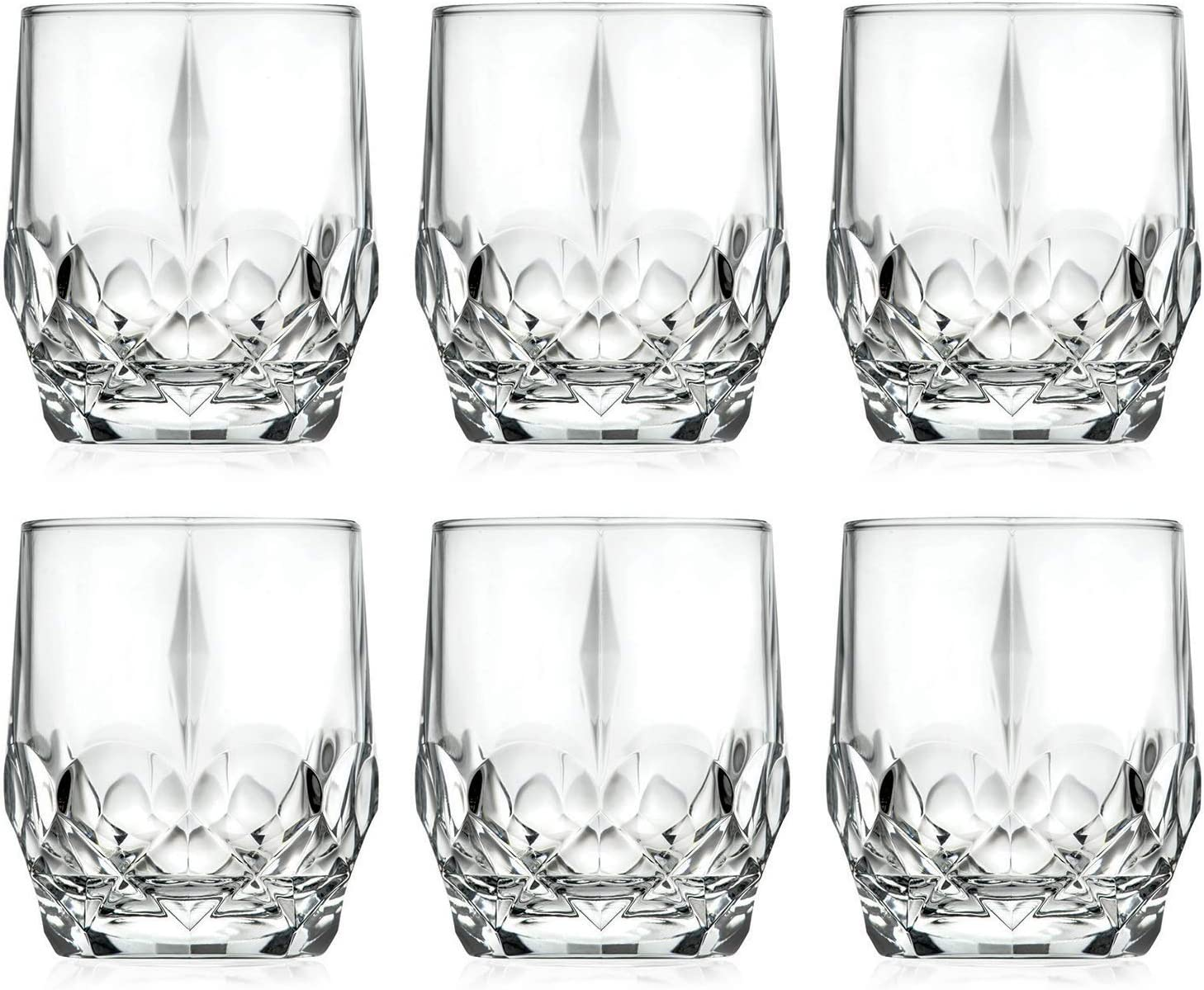 Tumbler Glass - Double Old Fashioned - Set of 6 Glasses - Designed DOF tumblers - For Whiskey - Bourbon - Water - Beverage - Drinking Glasses - 13 oz. Glass - Made in Europe By Barski
