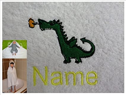 Toalla con capucha con un bebé de Dragon Logo y nombre de tu elección, 100