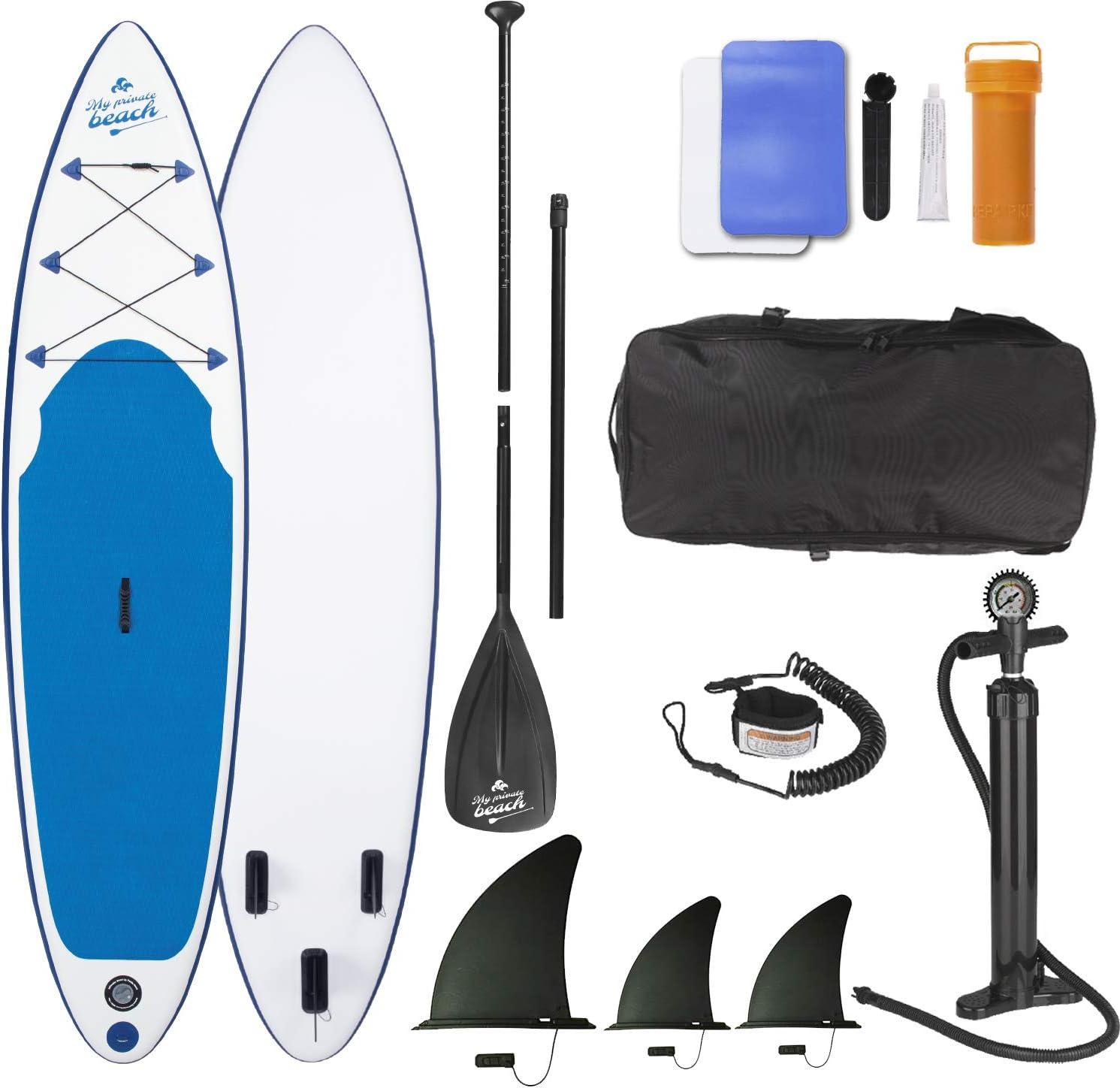 EASYmaxx Tabla de Padel de pie 320 cm My Private Beach de Primera Calidad | Incluye Bolsa de Transporte, Juego de reparación y Bomba de Doble Golpe, con una práctica asa de Transporte