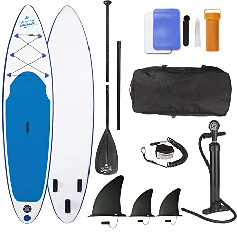 EASYmaxx Tabla Paddle Surf Hinchable para Principiantes con Bomba de Acción Doble, Funda Plegable y Remo de Aluminio, 320x76x15cm