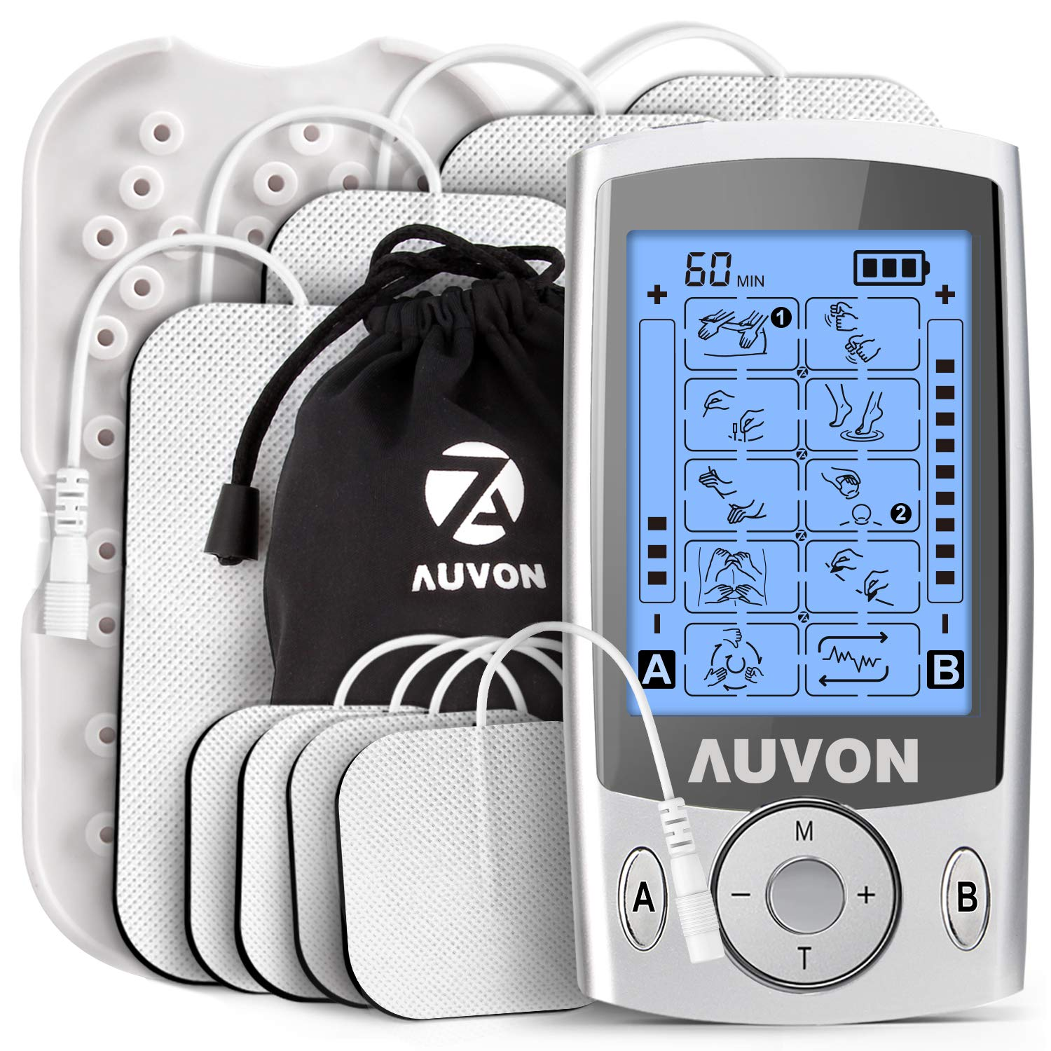 AUVON Dual Channel TENS Unit Muscle Stimulator Machine with 20 Modes, 2'' and 2''x4'' TENS Unit Electrode Pads