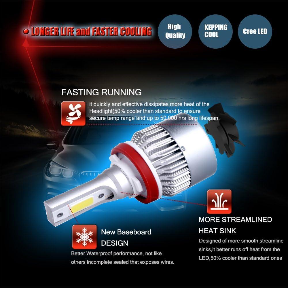 6pcs Brighter Cree White Headlamp Conversion Kit Hi//Lo Beam cciyu H11+9005+9005 Led Headlight Bulb 24000Lm 240W 6000K Focus Light 1 Year Warranty