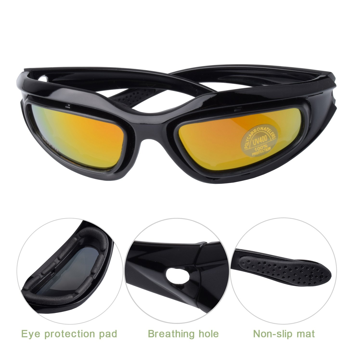 Tactical Glasses,DOPSIP Cycling Glases Protective Military Goggle with 4 Replaceable Lenses (Black) by DOPSIP (Image #4)