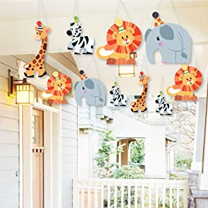 Hanging Jungle Party Animals - Outdoor Hanging Decor - Safari Zoo Animal Baby Shower or Birthday Party Decorations - 10 Pieces