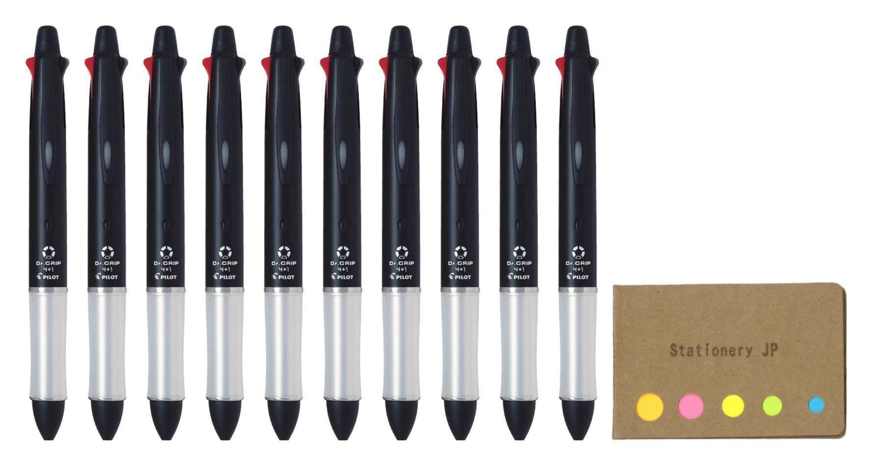 Pilot Mult Function Pen Dr.Grip 4+1, 0.7mm Acro Ink Ballpoint Pen, Black Body, 10-pack, Sticky Notes Value Set