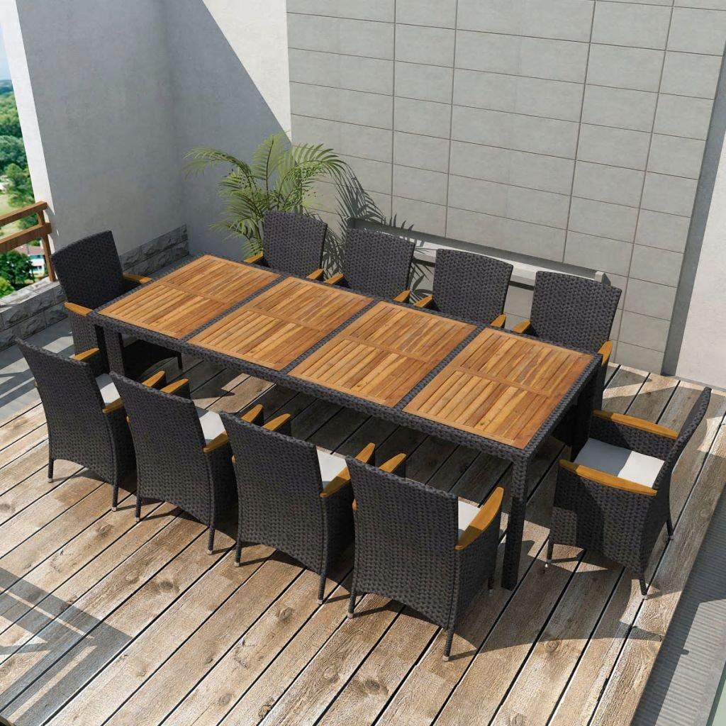 Furnituredeals Set Tisch Stühle Gartenmöbel 21tlg. Polyrattan schwarz.Dieses Set von hoher Qualität sind robust und strapazierfähig.Ideal für Garten und Outdoor
