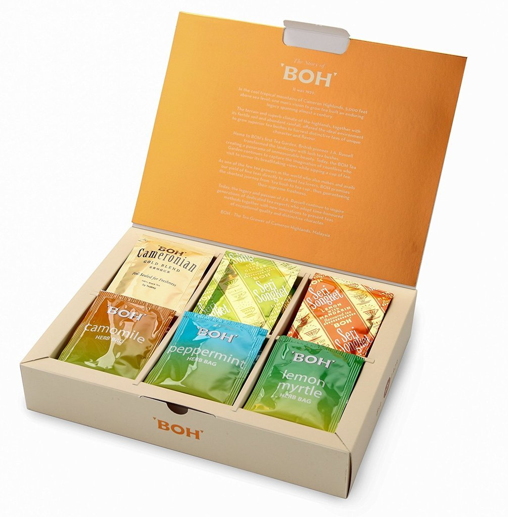 Exquisite BOH Teas Gift Box Set, 6 Assorted Tea Flavors (Fine Black, Herbal & Fruit), Variety Tea Sampler Pack, 48 Sachets (3.1 oz)
