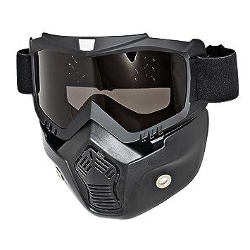 League&Co máscara negra y gafas para moto, casco, para moto