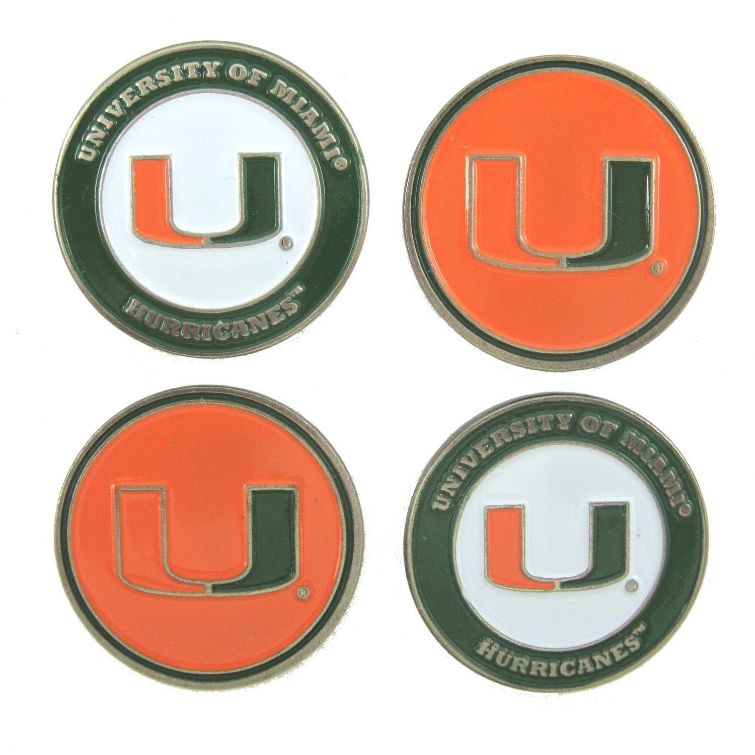 University of Miami 2-sided Golf Ball markers (lot of 4) by Team Golf