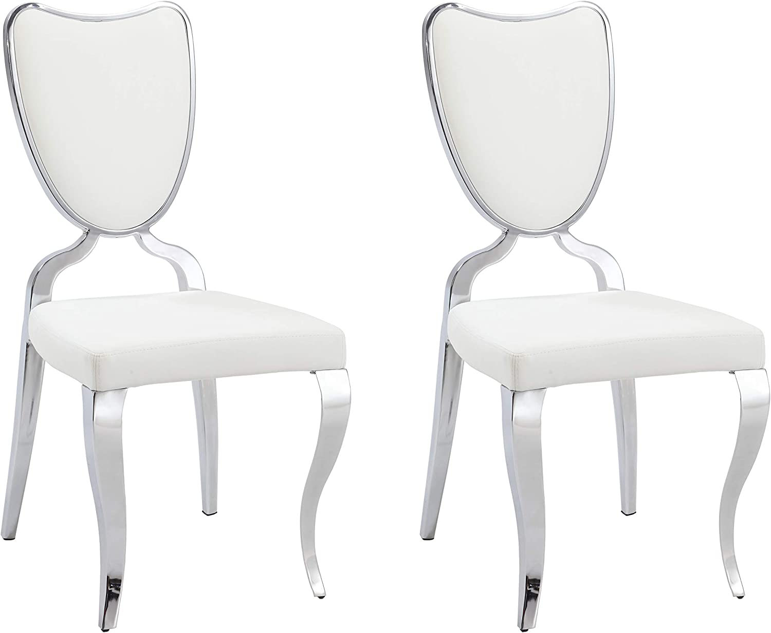 MILAN Laila Heart Back Cabriole Designed Legs Side Chair (Set of 2), Chrome/White