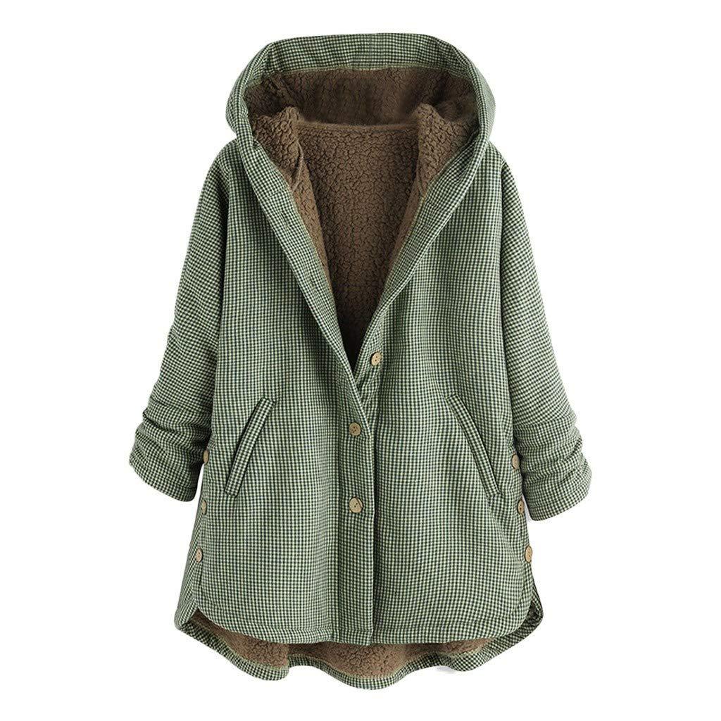 IEason Women Vintage Plaid Print Hooded Thick Coat Trend Button Pocket Plus Size Overcoat Green by IEason Women Coat