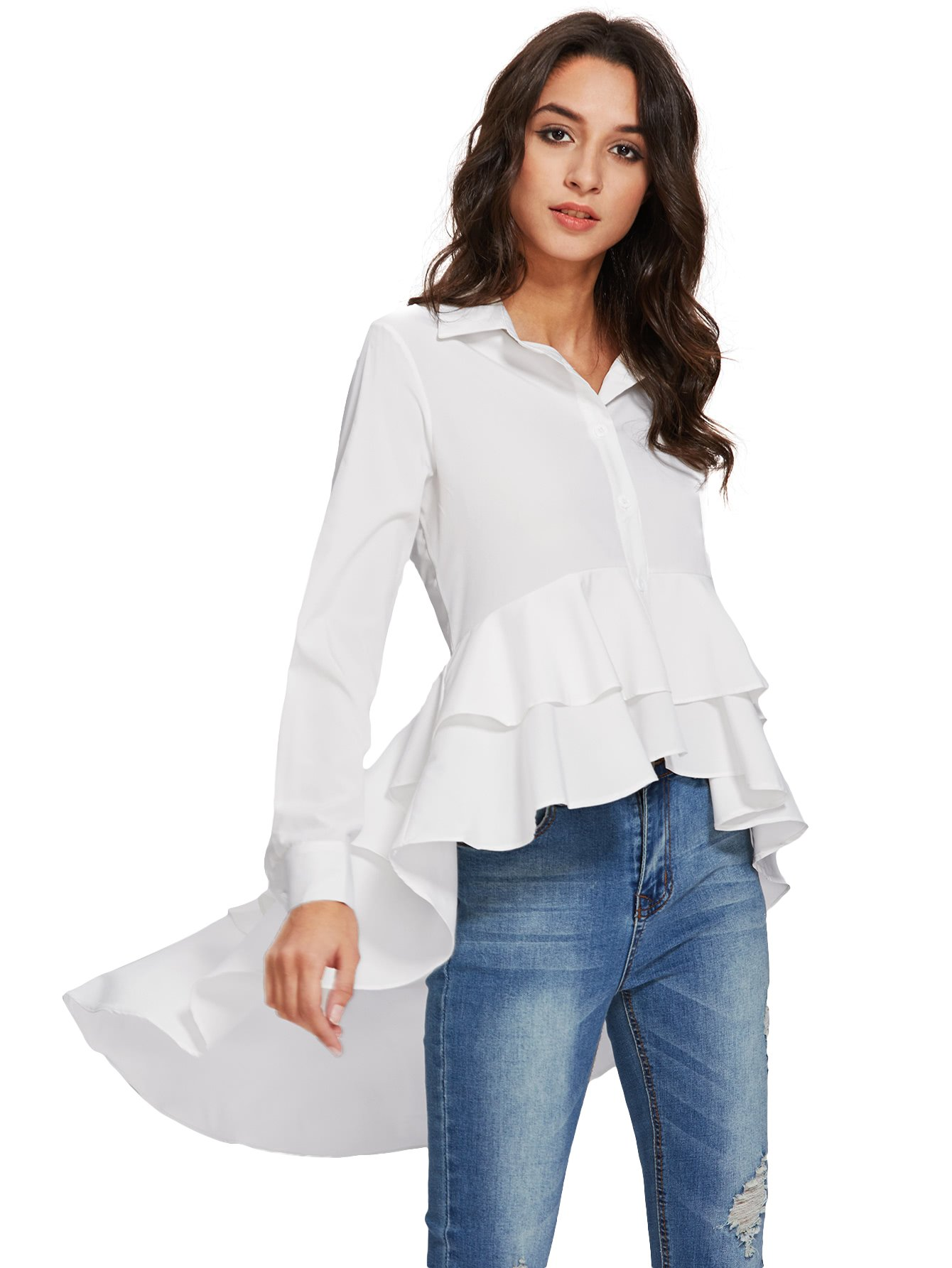 MakeMeChic Women's Long Sleeve High Low Solid Ruffle Button Loose Blouse T-Shirt Tops White S