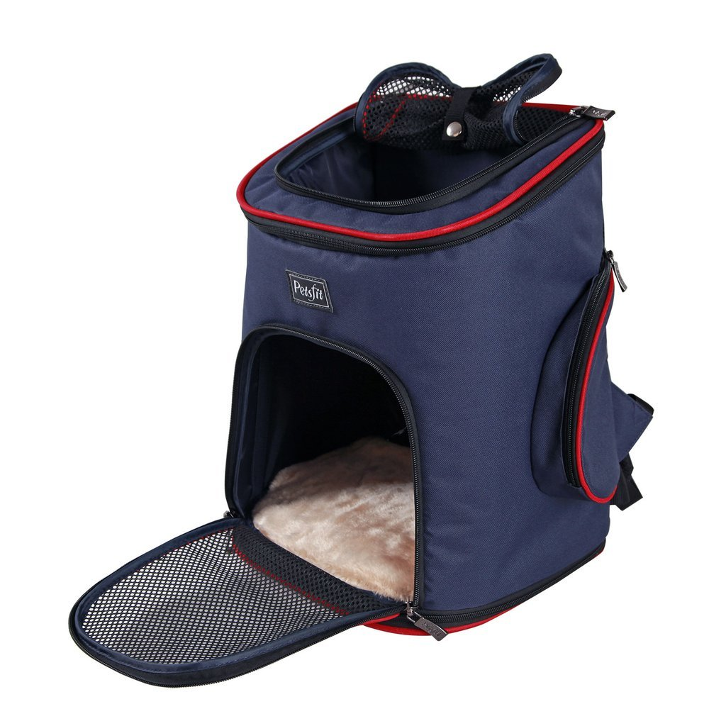 Petsfit Comfortable Pet Carrier Backpack for Small Dogs Cats Rabbits, Soft-Sided Mesh Pup Pack for Outdoor Travelling, Airline Approved Dimension, Removable Fleece Mat, with Built-in Collar Buckle