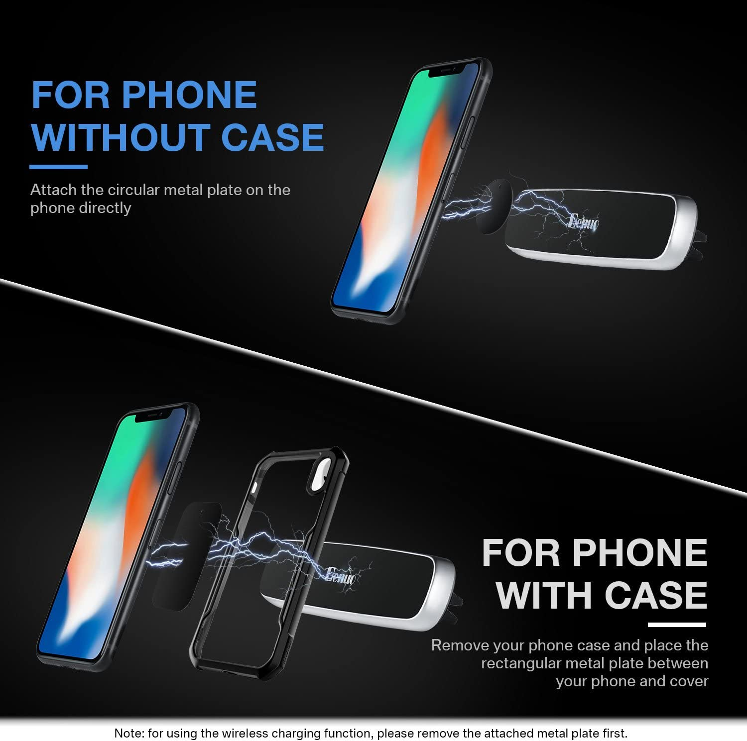 Magnetic Mount Benuo Universal Air Vent Car Cell Phone Holder with Strong Absorption Metal Plate for iPhone Xs Max,Xs,Xr,X,8 Plus,8,7 Plus,7,6S,6 Plus,6,5s,5,4s,4 Galaxy LG Sony Mini Tablet etc.