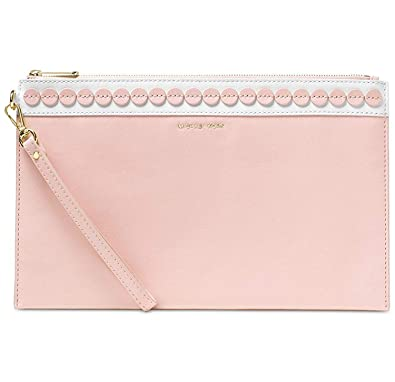 7eccf6b05b95 Image Unavailable. Image not available for. Color  MICHAEL Michael Kors  Womens Analise Leather Clutch Handbag Pink Medium