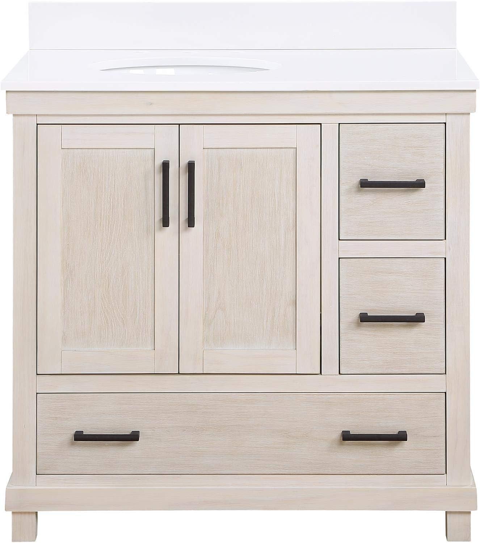 Amazon Com Dorel Living Sunnybrooke 36 Inch Rustic White Bathroom Vanity 36 Furniture Decor