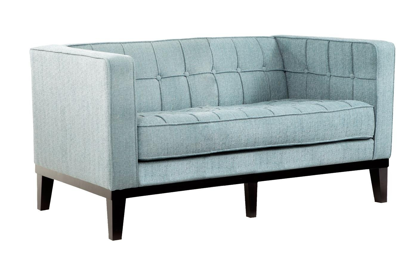 Armen Living LC10102SB Roxbury Loveseat in Spa Blue Fabric and Black Wood Finish
