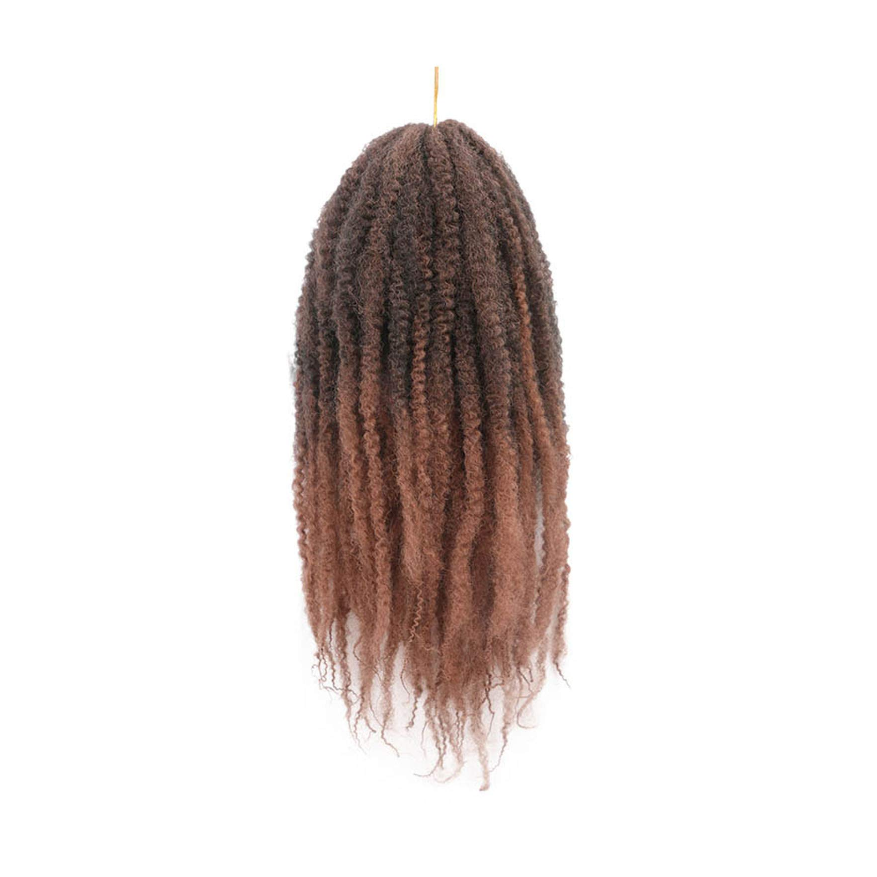 18 Inch Ombre Marley Braids Hair Crochet Afro Kinky Synthetic Braiding Hair Crochet Braids Hair Extensions Bulk Black Brown,M1B/30#,18Inches,10Pcs by Goodforyou21