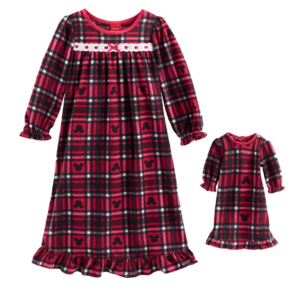 Jammies For Your Families Girls Toddler Disneys Mickey Mouse Toddler Girl Nightgown /& Doll Gown Set