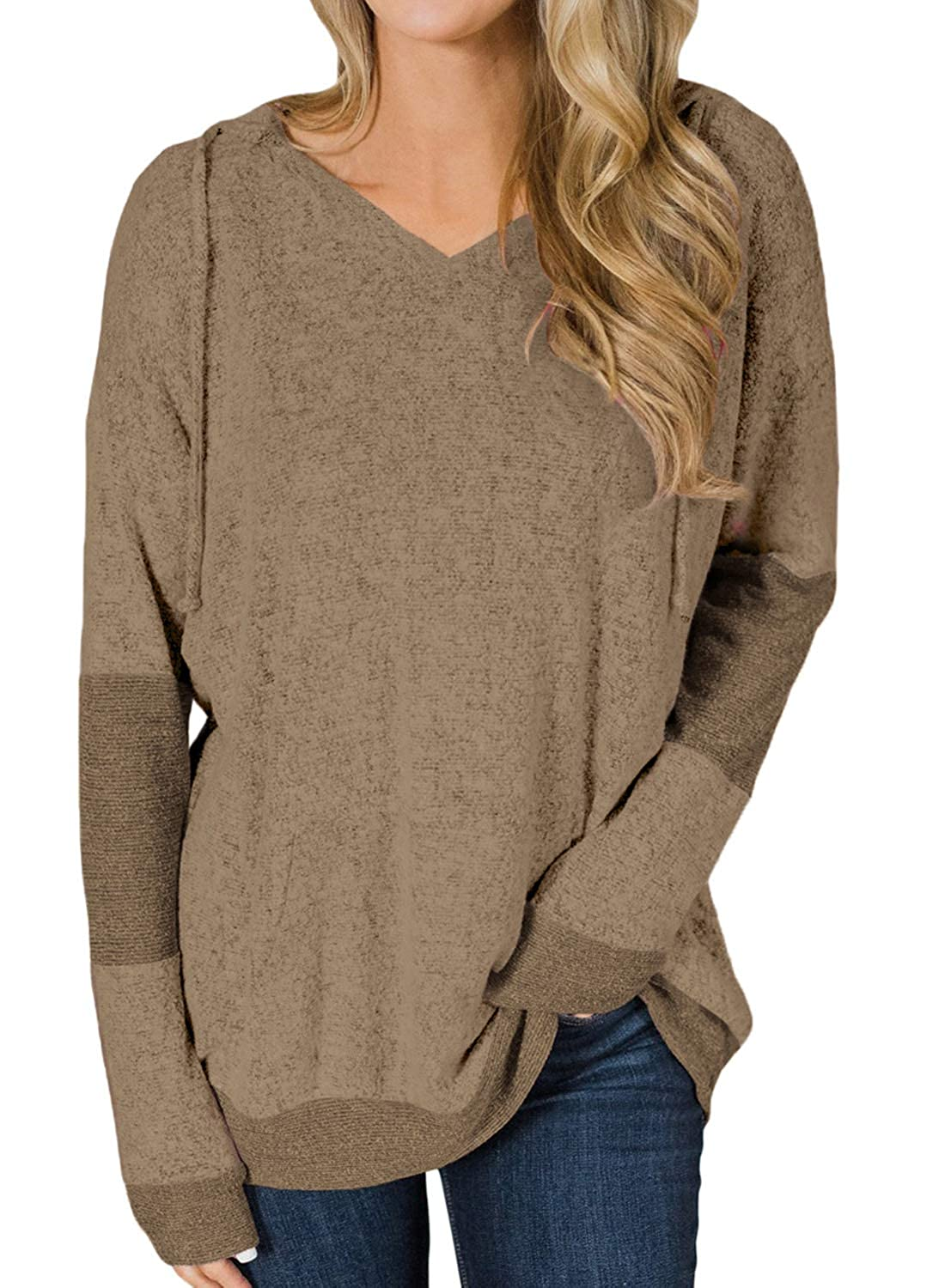 7a9b966dc HOTAPEI Womens Sweaters Casual Oversized Baggy Color Block Shirts Long  Sleeve Pullover Hoodie Tops at Amazon Women's Clothing store: