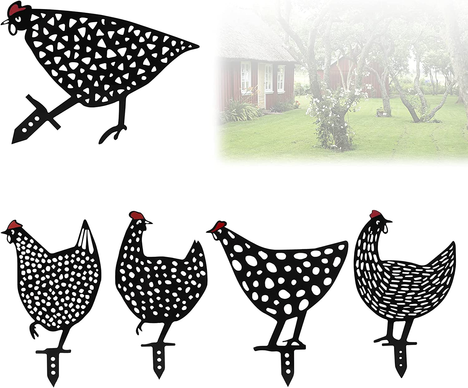 5 Pack Black Chicken Yard Art Garden Decor for Outside, Acrylic Rooster Silhouette Lawn Decoration Garden Sign Stakes, Porch Spring Animal Decorations Outdoor for Christmas, Thanksgiving