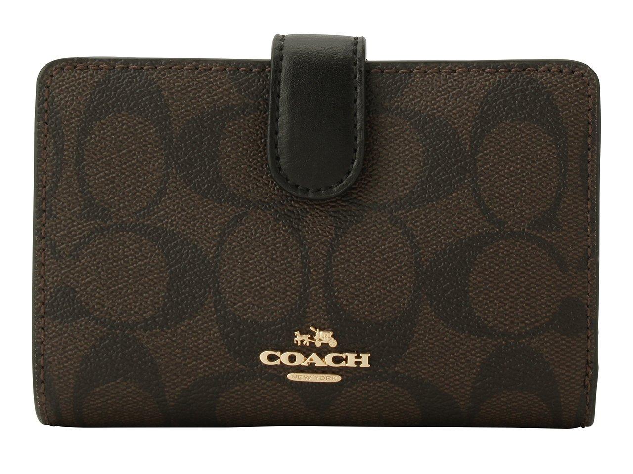 (コーチ) COACH 財布 二つ折り シグネチャー MEDIUM CORNER ZIP WALLET F23553 アウトレット [並行輸入品] B076HKG888 ブラウン/ブラック ブラウン/ブラック