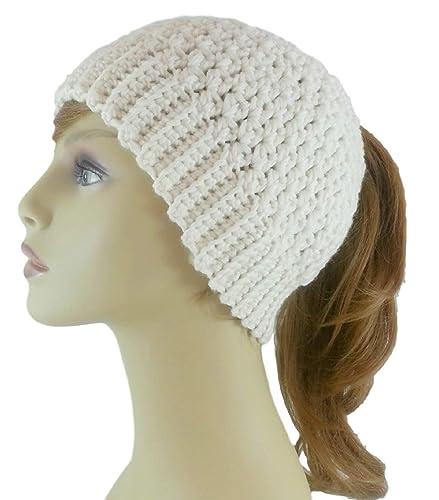 Amazon.com  Ponytail Hat for Women Merino Wool Messy Bun Beanie Ivory Made  in USA  Handmade e3dd8283015