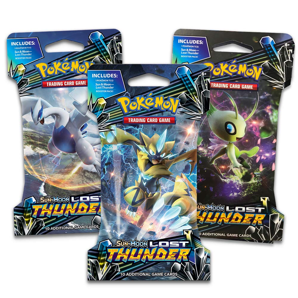 Sun /& Moon Lost Thunder Pokemon TCG 3 Blistered Booster Pack Containing 10 Cardsper Pack with Over 210 New Cards to Collect Pokemon International 097712543208