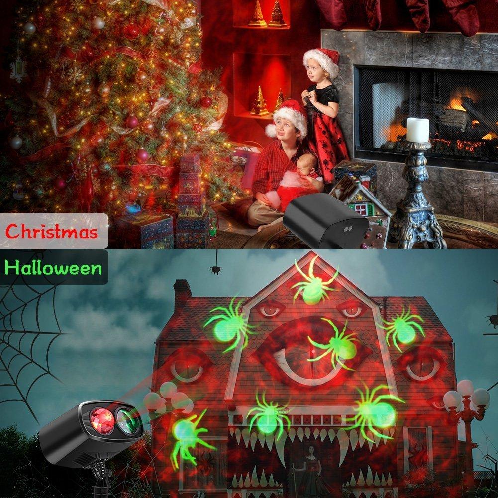 Projektionslampe LED Weihnachten Lichteffekt, Licht Projektor IP65 Wasserdicht innen außen, Mauer Dekoration Spinne Motion, 6 Stunden Timer Effektlic