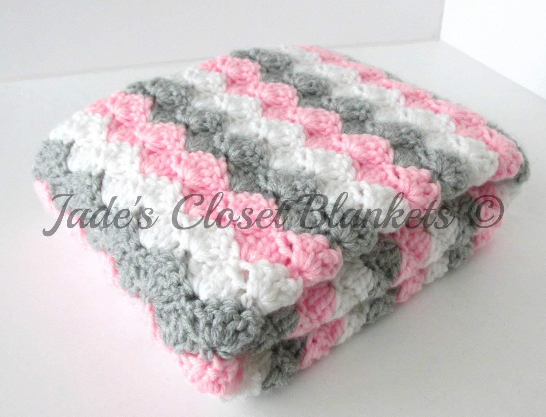 pink pink and navy baby crochet blanket gray and white blanket Crochet Baby blanket pink baby girl bedding navy nursery decor baby sh