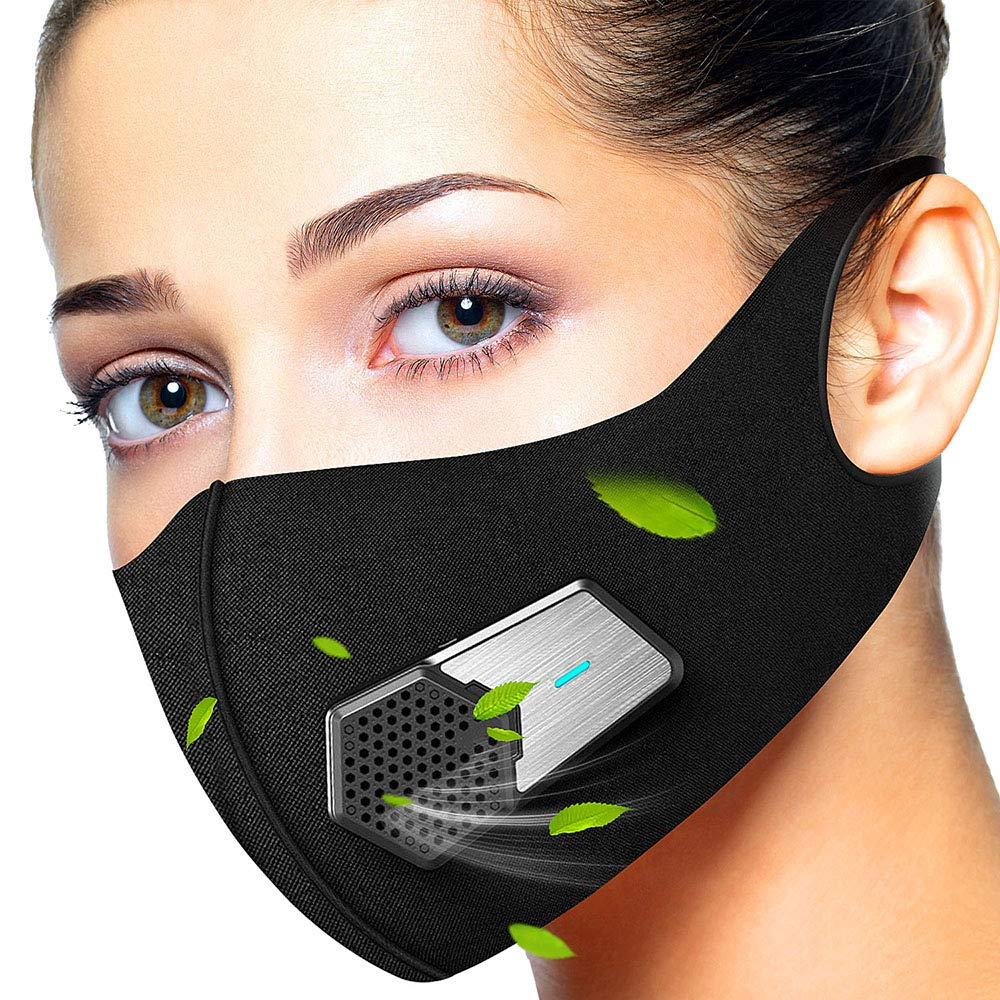 Anti Dust Electric Mask Reusable n95 Respirator for Face Air Purifying, ECOAMOR Washable Safety Masks for Outdoor Sports,Sanding,Gardening,TravelResist Dust,Germs,Allergies,PM2.5,Best Respirator Mask by ECOAMOR