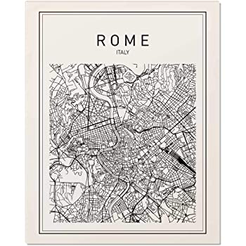Rome Map, Rome Print, Map of Rome, Italy Map, Italy Wall Art, Map Print, Black Map Print, Minimalist Map, City Map, Modern Map, Wall Print, Map Art, ...