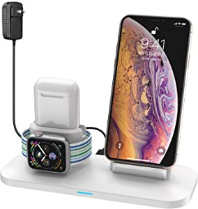 Wireless Charger, 3 in 1 Wireless Charging Station for Apple Watch and iPhone Airpods, Wireless Charging Stand Compatible for Apple iPhone X/XS/XR/Xs Max/8/8 Plus Apple Watch Series 4 3 2 1 Airpods